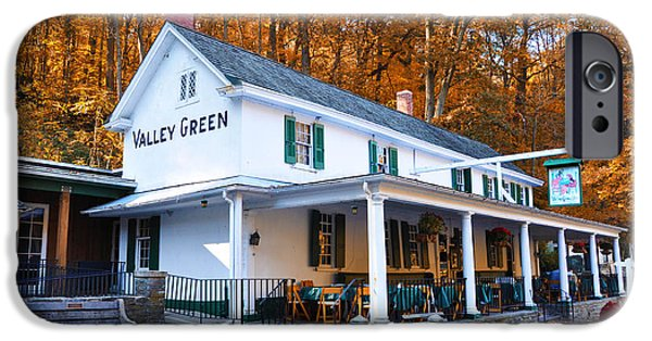 Bill Cannon iPhone Cases - The Valley Green Inn in Autumn iPhone Case by Bill Cannon
