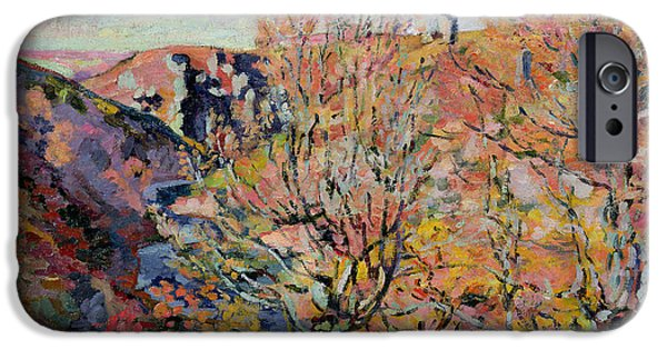 Leaf Change iPhone Cases - The Valley of the Sedelle in Crozant iPhone Case by Jean Baptiste Armand Guillaumin