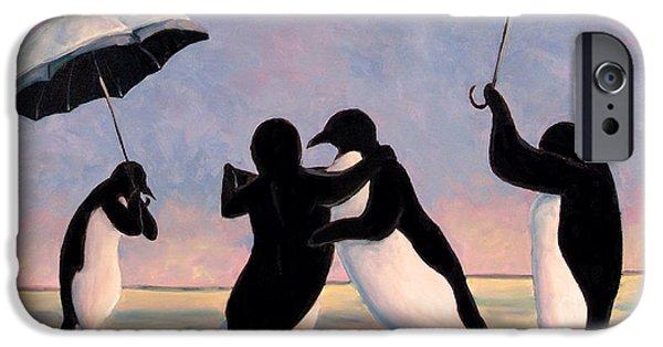 Umbrella iPhone Cases - The Vettriano Penguins iPhone Case by Michael Orwick