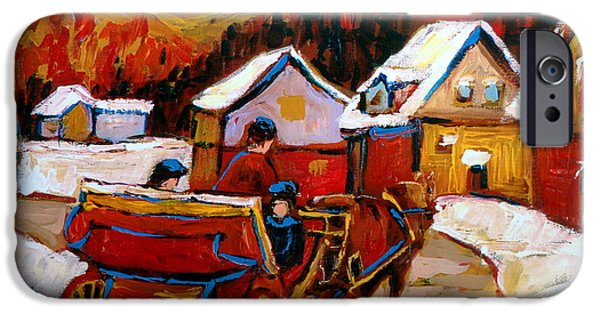 Montreal Winter Scenes Paintings iPhone Cases - The Village Of Saint Jerome iPhone Case by Carole Spandau