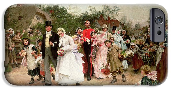 Home Paintings iPhone Cases - The Village Wedding iPhone Case by Sir Samuel Luke Fildes