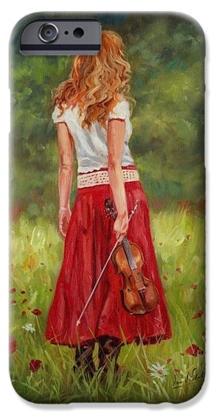 David iPhone Cases - The Violinist iPhone Case by David Stribbling