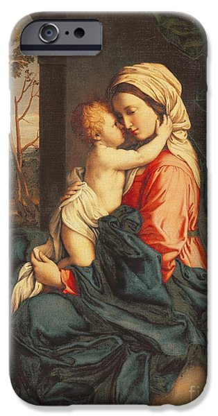 Religious iPhone Cases - The Virgin and Child Embracing iPhone Case by Giovanni Battista Salvi