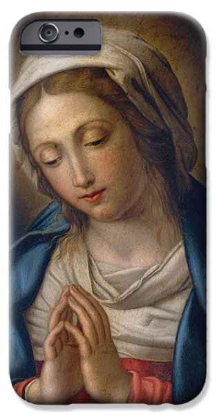 Heavenly iPhone Cases - The Virgin at Prayer iPhone Case by Il Sassoferrato