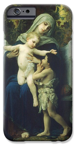 Christ Child iPhone Cases - The Virgin Baby Jesus and Saint John the Baptist iPhone Case by William Bouguereau