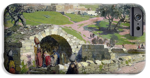 Middle East iPhone Cases - The Virgin Spring in Nazareth iPhone Case by Vasilij Dmitrievich Polenov