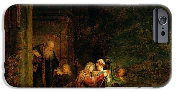 Testament iPhone Cases - The Visitation iPhone Case by  Rembrandt Harmensz van Rijn