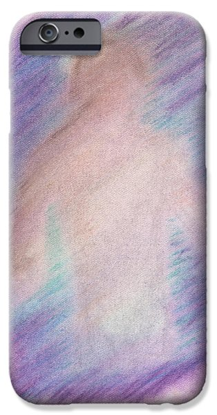 Spiritual Pastels iPhone Cases - The Visitor iPhone Case by KCWarthog Art