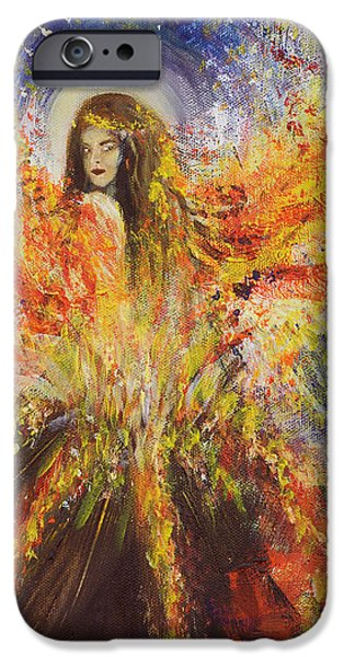 Archetype Paintings iPhone Cases - The Volcano Goddess iPhone Case by Solveig Katrin