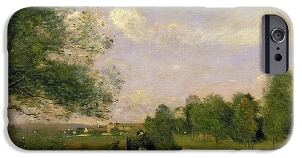 1796 iPhone Cases - The Wagon iPhone Case by Jean Baptiste Camille Corot