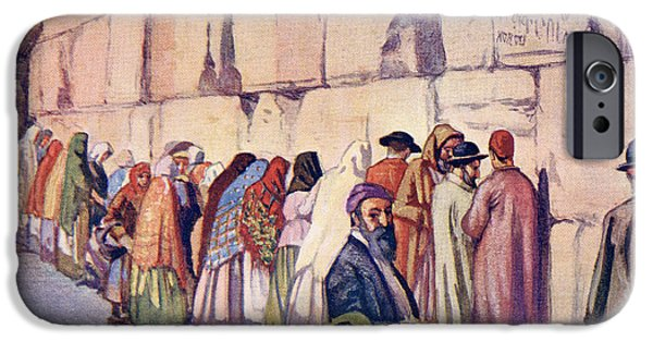 Religious Drawings iPhone Cases - The Wailing Wall, Jerusalem, Palestine iPhone Case by Ken Welsh