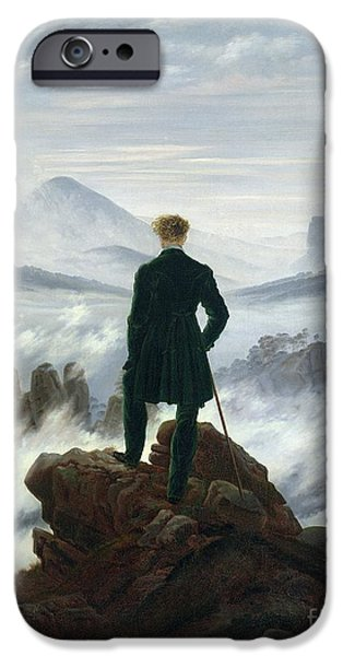 Male iPhone Cases - The Wanderer above the Sea of Fog iPhone Case by Caspar David Friedrich