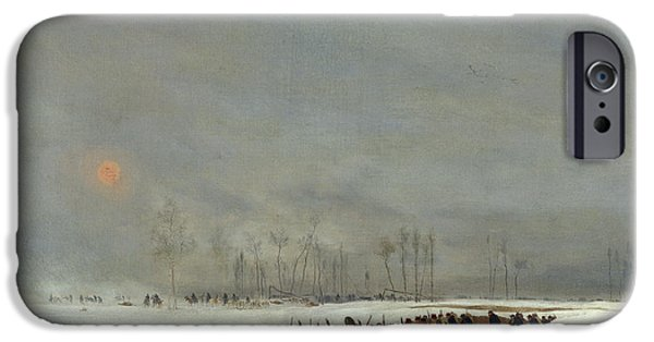 1871 iPhone Cases - The War of 1870 An Infantry Column on their Way to a Raid iPhone Case by Jean-Baptiste Edouard Detaille