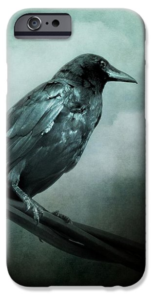 Crows iPhone Cases - The Watcher Surreal Raven Crow Moon and Clouds iPhone Case by Melissa Bittinger