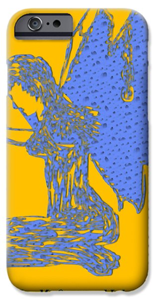 Angel Blues iPhone Cases - The Water Fairys Dilemma iPhone Case by Valerie Christopher