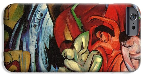 Figures iPhone Cases - The Waterfall iPhone Case by Franz Marc