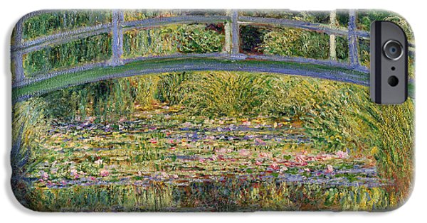 Water iPhone Cases - The Waterlily Pond with the Japanese Bridge iPhone Case by Claude Monet