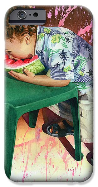 The Watermelon Eater iPhone Case by Marguerite Chadwick-Juner