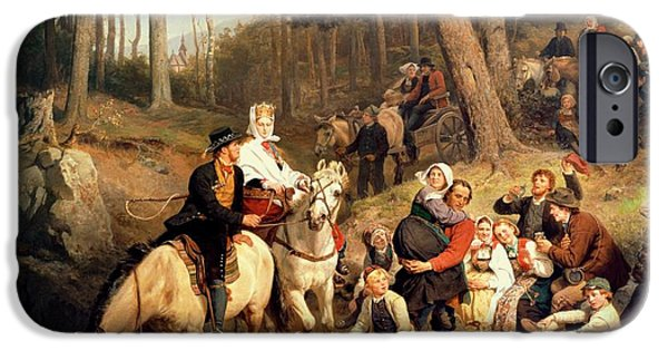Paddle iPhone Cases - The Wedding Trek iPhone Case by Adolphe Tidemand