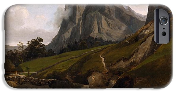 Switzerland Paintings iPhone Cases - The Wetterhorn Switzerland iPhone Case by Theodore Caruelle deAligny