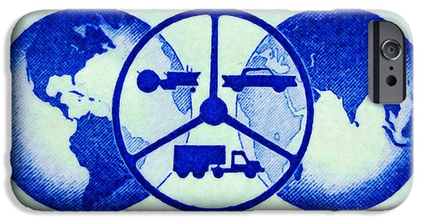 Technical Paintings iPhone Cases - The Wheels of Freedom stamp iPhone Case by Lanjee Chee