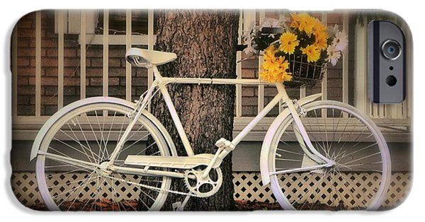 Recently Sold -  - Basket iPhone Cases - The white bicycle iPhone Case by Nathalie Duhaime