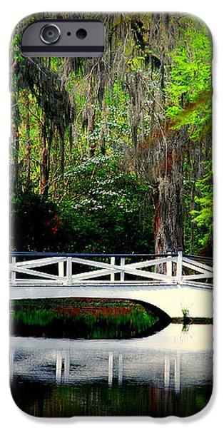 The white bridge in Magnolia Gardens SC iPhone Case by Susanne Van Hulst