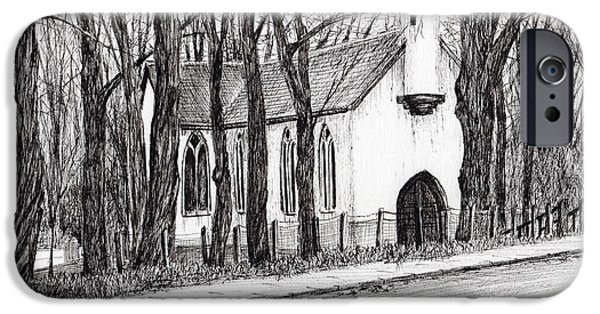 Forest Drawings iPhone Cases - The White Chapel iPhone Case by Vincent Alexander Booth