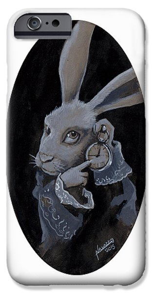 Alice In Wonderland iPhone Cases - The White Rabbit iPhone Case by Luis  Navarro