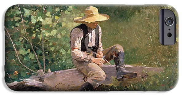 Straw iPhone Cases - The Whittling Boy iPhone Case by Winslow Homer