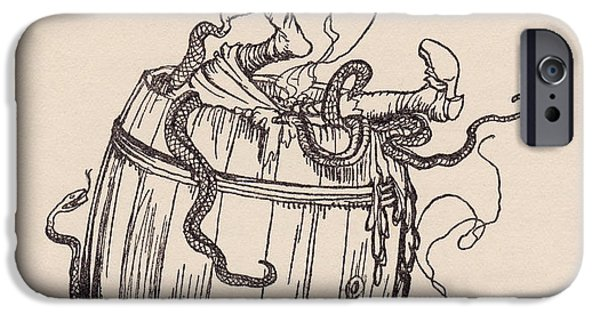 Reptiles Drawings iPhone Cases - The Wicked Mother-in-law Was Put Into A iPhone Case by Vintage Design Pics