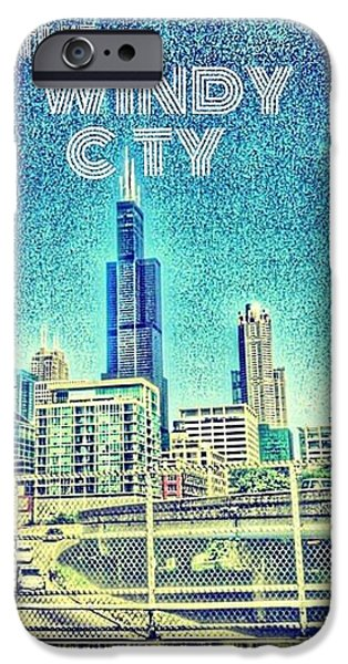 Buildings Mixed Media iPhone Cases - The Windy city iPhone Case by Zyron  Byrd