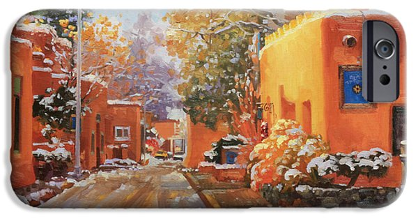 Winter Landscape Paintings iPhone Cases - The winter beauty of Santa Fe iPhone Case by Gary Kim