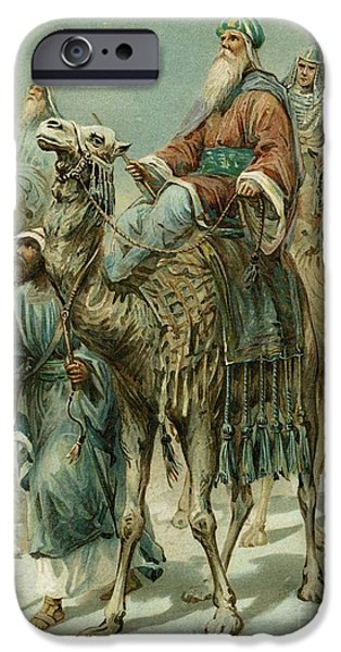 Nativity Paintings iPhone Cases - The Wise Men Seeking Jesus iPhone Case by Ambrose Dudley