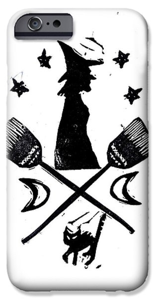 Witch Halloween Cat Wicca iPhone Cases - The Witches Crest Halloween Silhouette iPhone Case by Coralette Damme