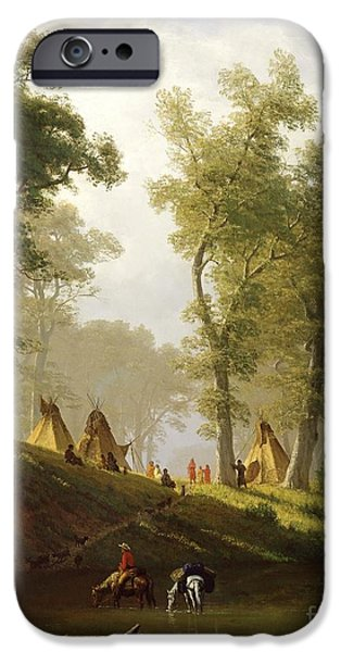 Native-american iPhone Cases - The Wolf River - Kansas iPhone Case by Albert Bierstadt
