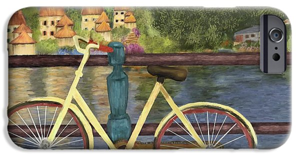 Raining iPhone Cases - The Yellow Bicycle  iPhone Case by Sydne Archambault