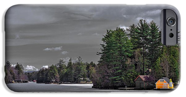 Snow Scene iPhone Cases - The Yellow Boathouse in Early Spring iPhone Case by David Patterson