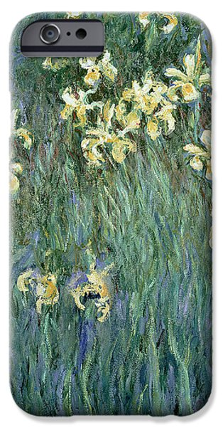 Yellow iPhone Cases - The Yellow Irises iPhone Case by Claude Monet