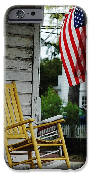 Red White And Blue Digital iPhone Cases - yellow Rocking Chair and American Flag iPhone Case by ArtyZen Studios - ArtyZen Home