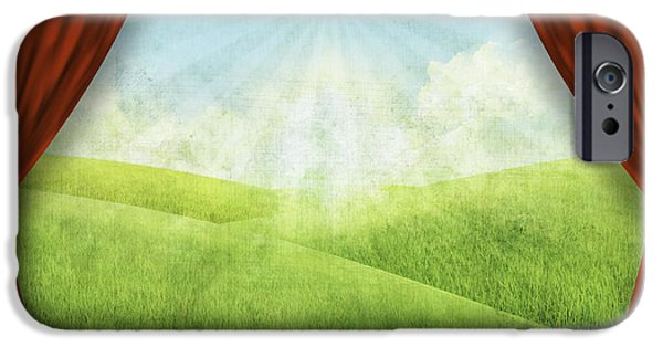 Field. Cloud iPhone Cases - Theater Stage With Red Curtains And Nature Background  iPhone Case by Setsiri Silapasuwanchai