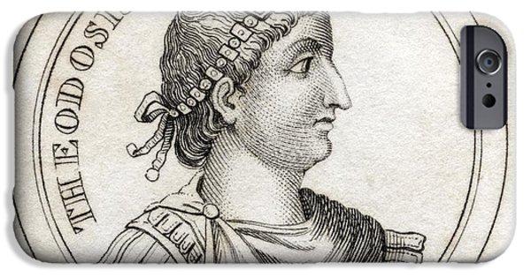 Flavius iPhone Cases - Theodosius The Great Flavius Theodosius iPhone Case by Vintage Design Pics