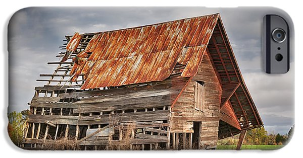 Old Barns iPhone Cases - There Was A Crooked Barn iPhone Case by Kim Hojnacki