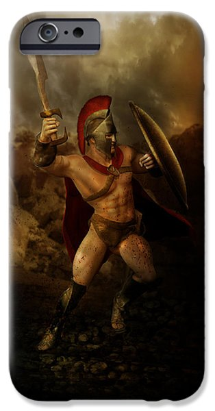Fight Digital iPhone Cases - Thermopalyae iPhone Case by Karen K