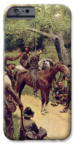 Punishment iPhone Cases - They Talked It Over With Me Sitting on the Horse iPhone Case by Howard Pyle