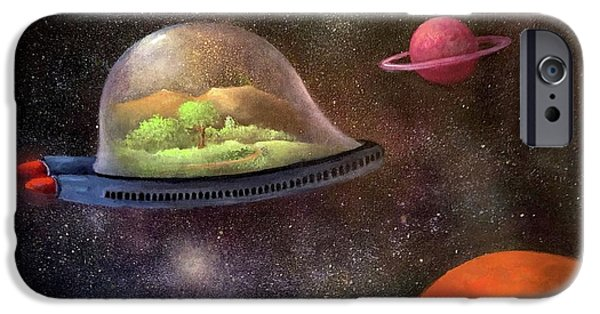 Outer Space Paintings iPhone Cases - They Took Their World With Them iPhone Case by Randy Burns
