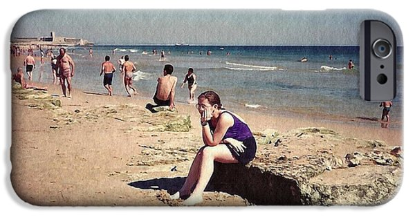 Business Digital iPhone Cases - Thinker on the Beach iPhone Case by Sarah Loft