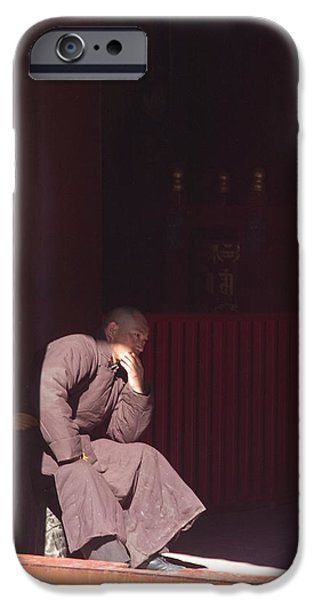 Thinking iPhone Cases - Thinking Monk iPhone Case by Sebastian Musial