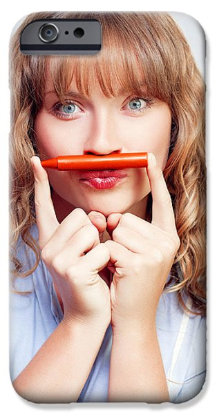 Youthful iPhone Cases - Thinking student with orange crayon moustache iPhone Case by Ryan Jorgensen