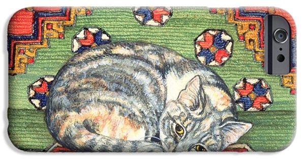 Persian Carpet iPhone Cases - Third Carpet Cat Patch iPhone Case by Ditz